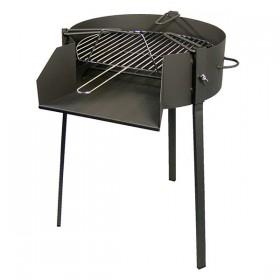 Barbacoa de carbón y leña con soporte para paellas