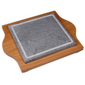 Piedra para asar cuadrada + soporte de madera